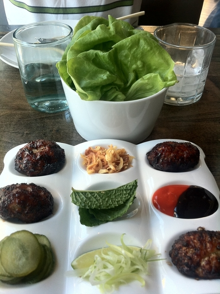 6/26 Red Medicine LA: chicken dumplings to make into lettuce wraps w great condiments. 