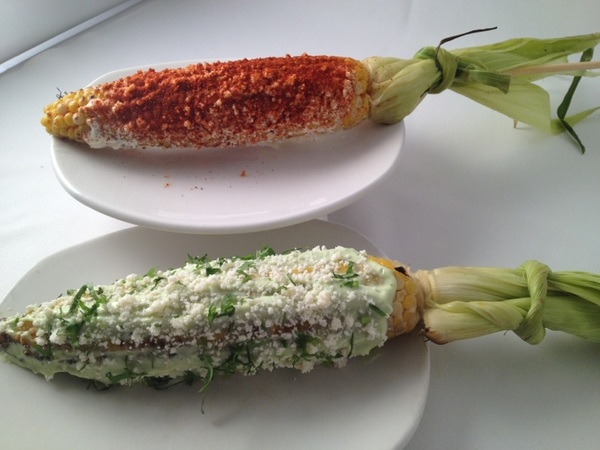 New Frontera menu:grilled local corn! Green chile mayo/queso fresco or crema, guajillo, queso añejo