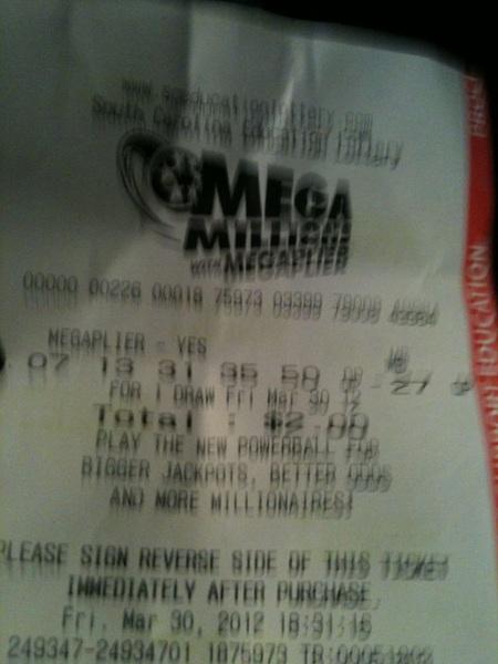 NIGGA RT @WLTX: Mega Millions winning numbers: 07- 13- 31- 35- 50 ...