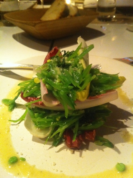 Oh man, I love the food at ABC Kitchen:  shredded snow pea salad, perfect spring!
