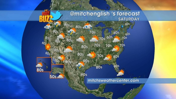 It's the WEEKEND! Here's your #weather forecast. Have fun! @dailybuzztv @mitchsweather