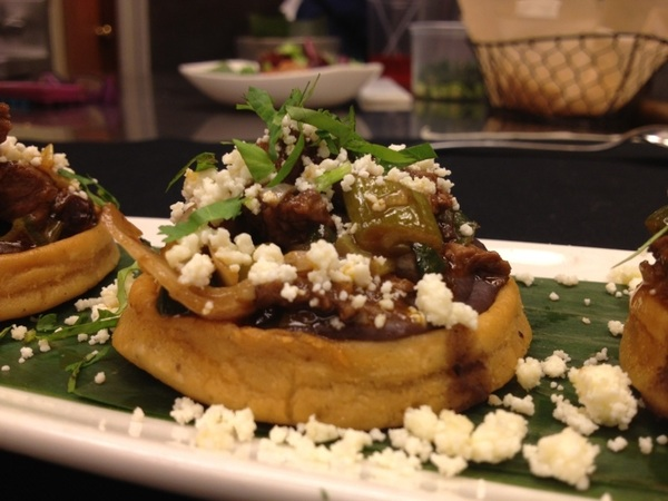 New Frontera menu tasting: Veracruz Pellizcadas w skirt steak, bl beans, charred onions and smoky queso añejo