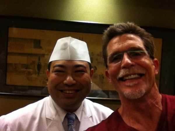 Chef Kimio Nonaga tempura/sushi class: chef and me. He won the 2002 Iron Chef competition in Japan