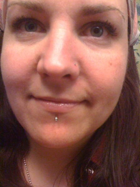 My upclose giant face & new labret piercing.