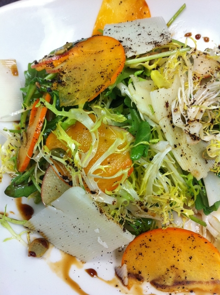 Chef Armando&#039;s new persimmon-apple salad w frisee, ancho, pepitas is really good. Red O in LA