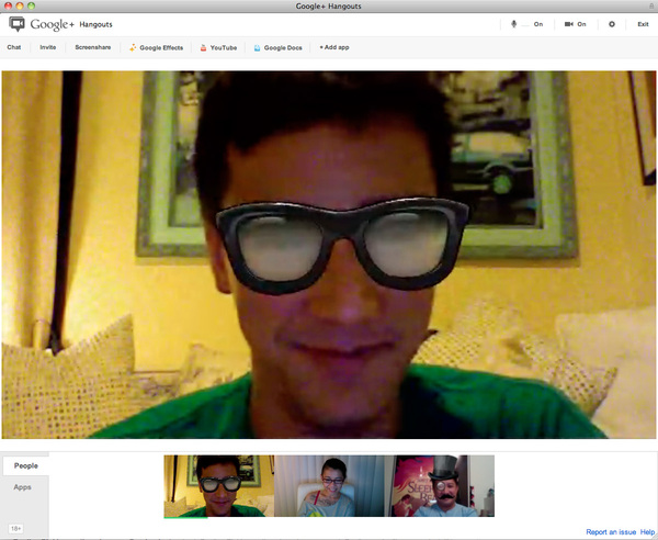 Google+ Hangouts is rad. I get to see friends AND save on gas $$. And there&#039;s fun special FX! #socialnetworking #tech #win