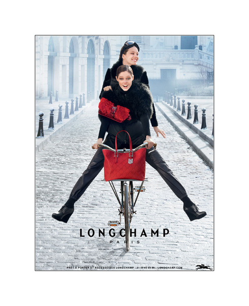 Coco Rocha & Didonato get on a bike for Longchamp's FW12 Campaign