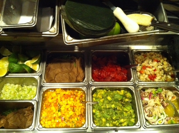 Topolobampo: a beautiful mise-en-place in the cold seafood/marisquería station