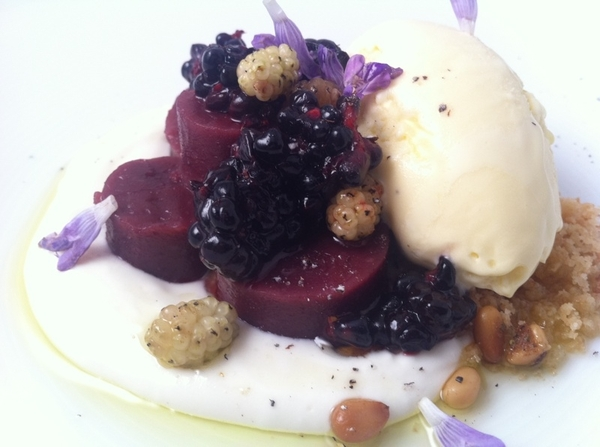 Baja Tasting Menu starts 2nite:Blackberry tamal de masa cocida,hmade ricotta,Baja olive oil ice cr(rosemary scent)