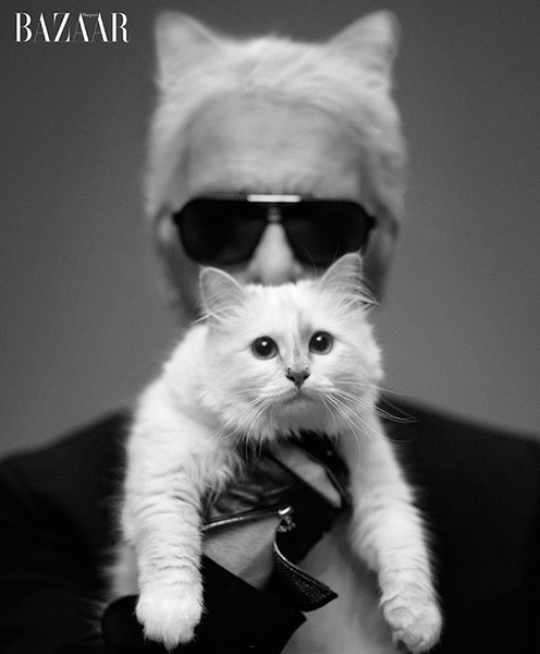 Priceless! Karl Lagerfeld & Choupette captured like never before in Harper's Bazaar' September issue
