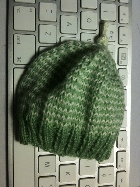 Finished striped preemie hat