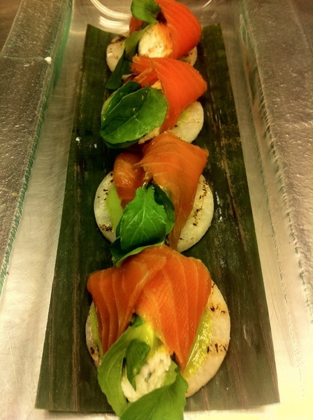 "New Frontera Menu 2day: standout home-smoked salmon, homemade ricotta, herby tomatillo drizzle, grld jícama ""chip"""
