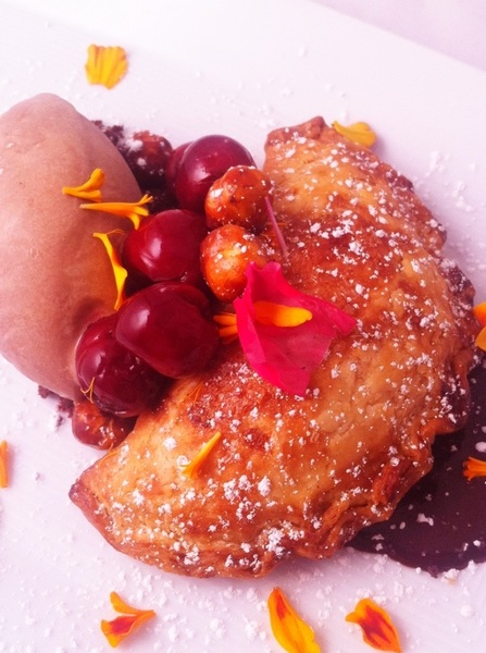 New Frontera Menu hilites: cherry empanada, homade dk choc &quot;nutella,&quot; choc-rosita de cacao ice cr,sw-sour cherries