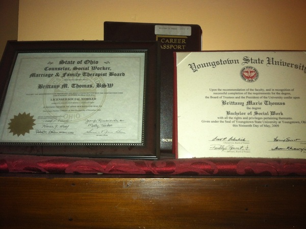 My High school diploma, Bachelor&#039;s degree, and social work license on the mantel in my parents&#039; living room, my main focus is placing my Master&#039;s degree up there!!