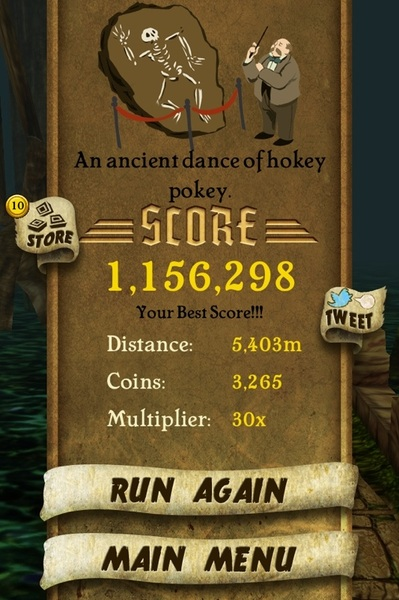 Finally hit a million! #TempleRun ( @TempleRun )