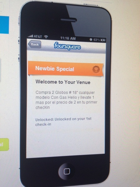Promociones al hacer check in foursquare 