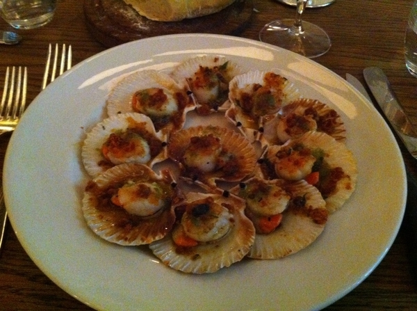 "Hix: ""queenie"" scallops w roe attached flash-cooked in garlic-herb butter"