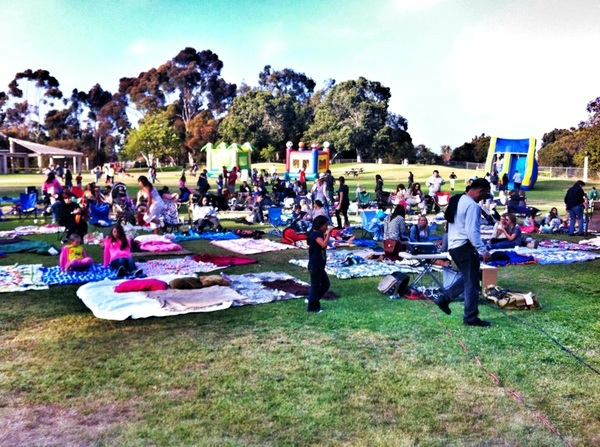 '@MissionVentura's 1st Movie Night of the summer -crazy turn out!!! Loads of people - exciting! Still time to get here!