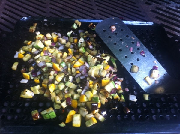 Grilled ratatouille: 2nd dice summer squash/eggplant/red onion; oil, salt, grill