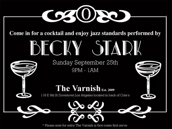 Join us for Becky Stark's maiden voyage @TheVarnishBar this Sunday.