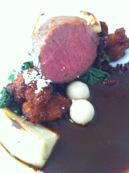 Topolo Adventurer&#039;s Tasting: lamb ribeye w pasilla negro sauce, candied sweetbreads, mustard greens, rstd turnips