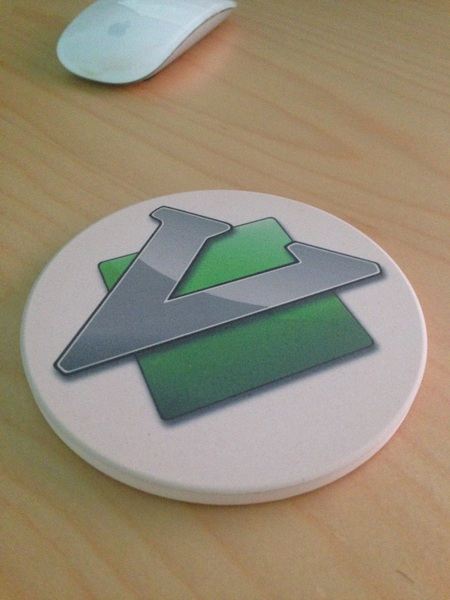 Got a custom made drink coaster with the Vim logo on it.  Yeah.