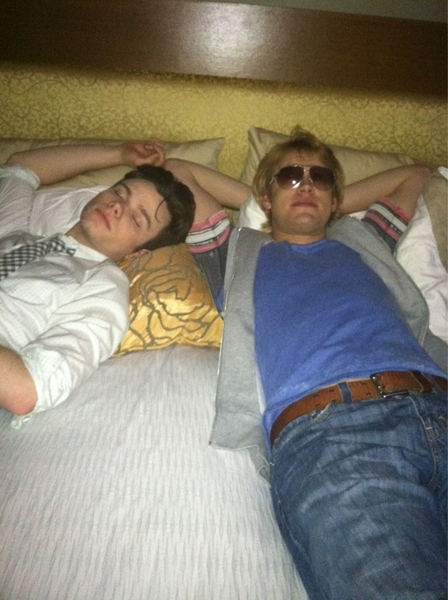 Takin a nap on set! @chriscolfer 