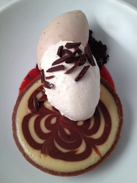 "New Frontera menu: Oaxacan choc swirl ""cheesecake"" tart, Klug strawberry ice cr"