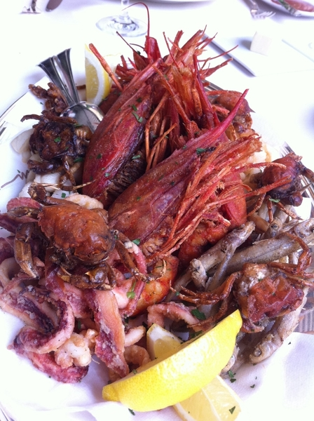 Barolotta, Vegas: frito misto:head-on red shrimp, cuttlefish, little calamari, little soft shells, white bait