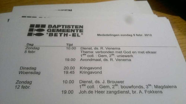 Wat is er de komende tijd weer te doen in de baptisten gemeente &#039;Beth-El&#039; #Hoogeveen ? #welkom