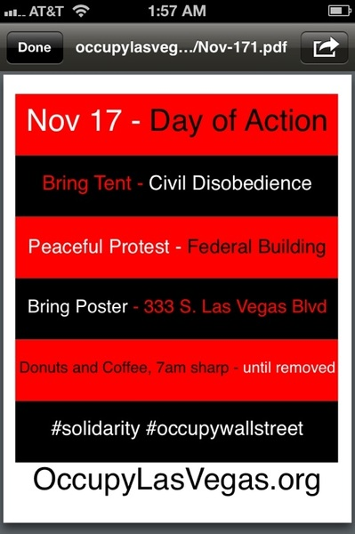 I will be out @OccupyLasVegas 7am for BIG OCCUPY  .. Watch my tweets, pics and video!  @WillRogersUSA @tweetTheStreets