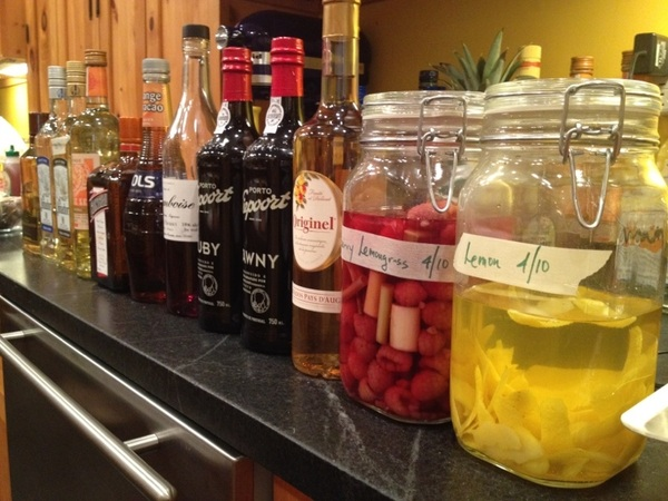 Testing for new book with R&D chef Shaw Lash:  margaritas and seasonal cocktails!! Infused tequilas!!