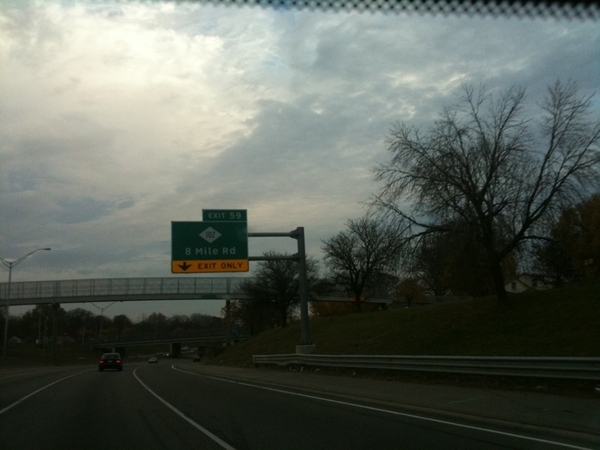 In #Detroit just passed Eminem&#039;s hood.  