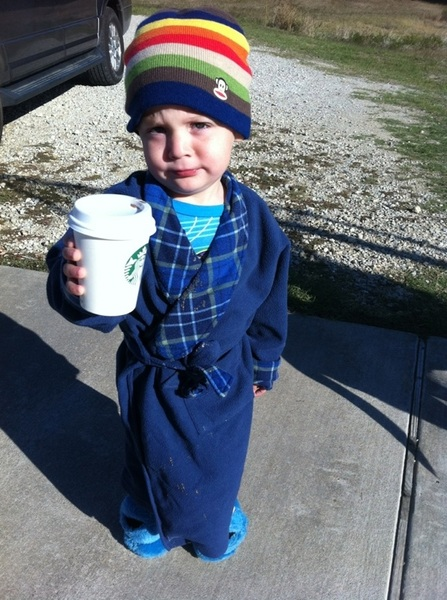 Owen was in need of a good cup o Joe this morning. 