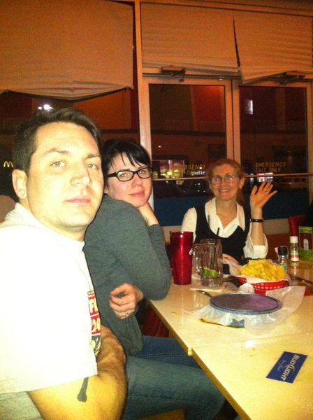@RADIUM_X  LOOK.  Pic of my son, his wife and me. Very relaxed dinner, TexMex food.  Are they not handsome!