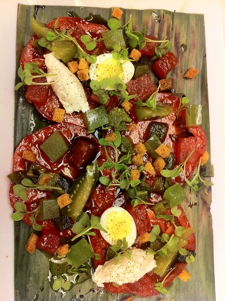 Testing poss new dishes 4 Topolo: Heirloom tomato salad: homade tequila vin, smoked ricotta; cuke jewels, w&#039;melon