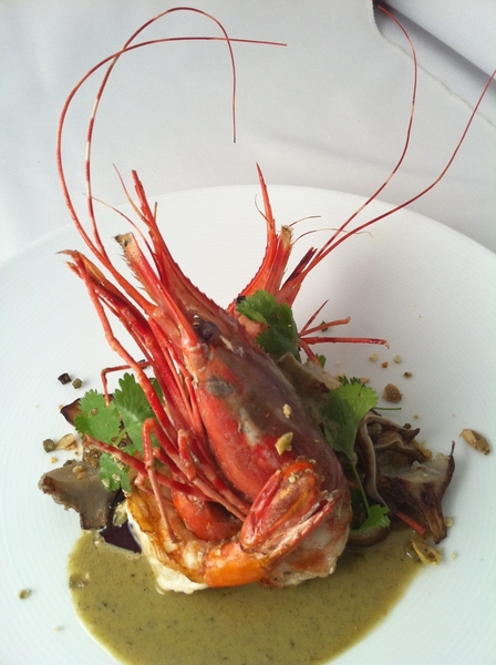 Topolo Adventurer's Tasting: Spot Prawns in green pumpkinseed pipian w royal trumpet shrooms & pigs ears