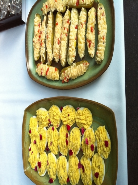 Starters for our Oklahoma BBQ meal: pimento cheese-stuffed dill pickles, deviled eggs