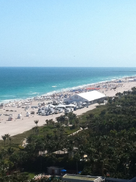 View from my hotel room overlooking South Beach. Tent is where I&#039;ll be serving my &quot;Top Chef Masters&quot; tacos tonight