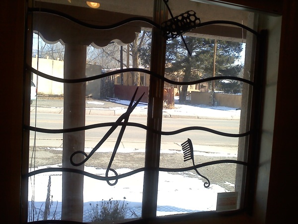This #hair salon has the cutest window bars ever! #Taos #NM #salonX