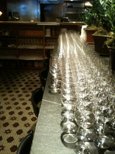Frontera Farmer Fndatn Dinner:A fraction of polished glassware needed for 5-course meal for 160 w diff wine/course