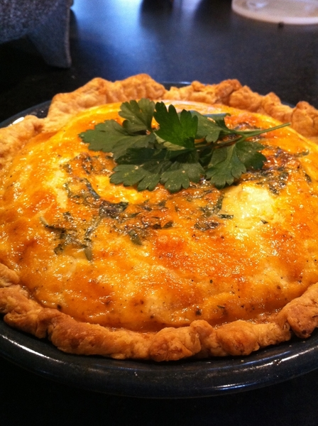 "My wife made this amazing quiche for me (goat cheese, chipotle bacon, fresh herbs) 4 me. Birthday ""weekend""."