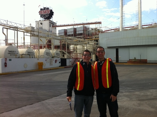 My partner Manny Valdes and I touring the Tecate plant in the town of Tecate. Free beer @ end of tour :)