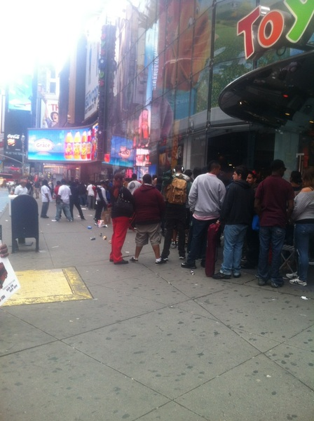 I was in times square at 8am Saturday, this was 1 line, there were mad lines like this..
