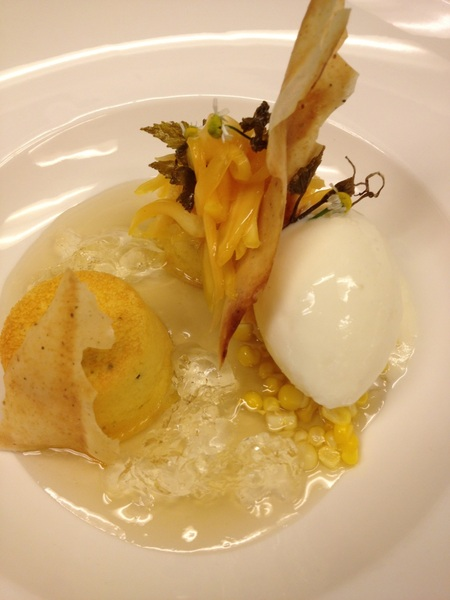 Poss new Topolo Baja menu: warm fresh corn cake, tangy crema sorbet, white wine gelee, jack fruit, chamomile broth
