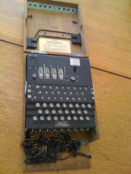 Yer actual Enigma Machine. Yrs truly touched and keyed and played. Gaspworthy.