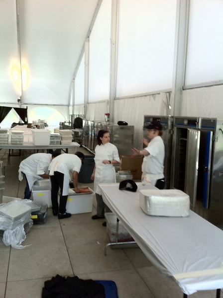 At Millennium Park setting up kitchen 4 benefit dinner for 500 (at Metro Squash). It takes a LOTS of equipment!