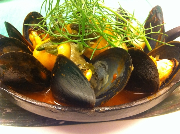 Tasting poss new menu 4 Frontera w Chef Richard: mussels in yellow mole w olive oil-poached fennel, fingerlings
