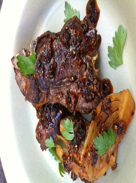 Final tests on dishes for TV shoot: lamb t-bones with slow-cooked fennel, salsa macha (6 chiles, nuts, herbs, OO)