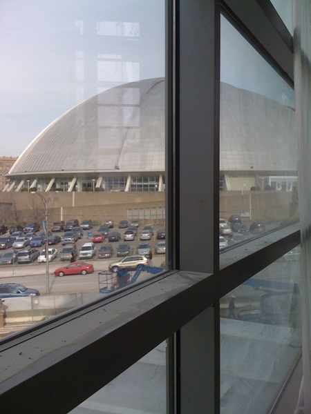 View of the Mellon Arena from inside Consol Energy Center. 